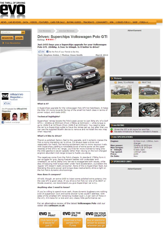 Evo magazine road test Superchips ECU remapped 'chipped' Volkswagen Polo GTi 1.4 TSI twincharge 180 PS