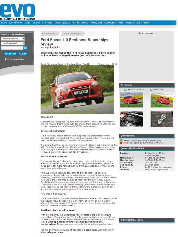 Superchips ECU remap for the Ford Focus 1.0-litre 125PS tested by Evo