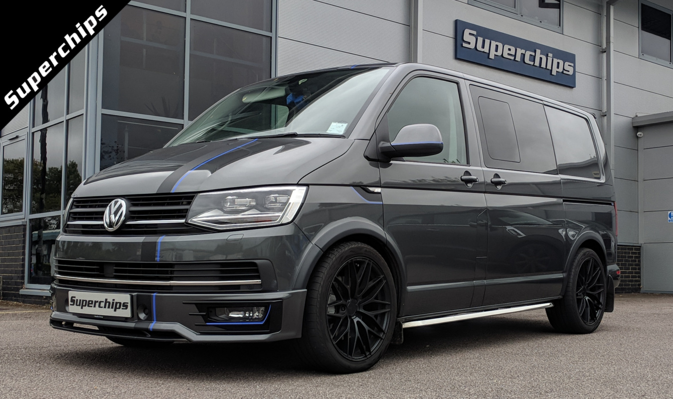 VW Transporter T6 2.0 BiTDI 204PS Sportline development vehicle seen outside Superchips UK Headquarters